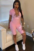 Pink Sexy Fashion zipper letter Print Milk. Short Sleeve O Neck