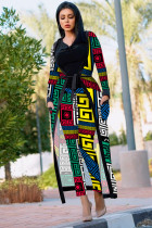 Red Fashion adult Sexy Newspaper Print Two Piece Suits Patchwork Straight Long Sleeve