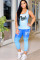 Blue adult OL Fashion Two Piece Suits Print Tie Dye Patchwork pencil Short Sleeve Two-piece Pa