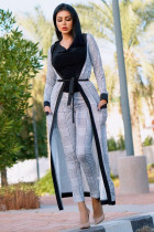 Grey Fashion adult Sexy Newspaper Print Two Piece Suits Patchwork Straight Long Sleeve