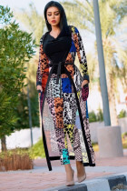 serpentine Fashion adult Sexy Newspaper Print Two Piece Suits Patchwork Straight Long Sleeve