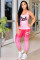 Pink adult OL Fashion Two Piece Suits Print Tie Dye Patchwork pencil Short Sleeve Two-piece Pa
