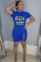 Blue Fashion OL adult Cap Sleeve Short Sleeves O neck Step Skirt Mini Letter Bowknot Patchwork