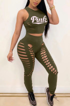 Army Green Fashion adult Ma'am Street Print Two Piece Suits Letter Solid Burn-out Hole pencil Sleevel