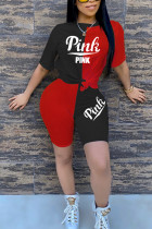 Black and red Ma'am adult Active Fashion Print Two Piece Suits Patchwork Embroidery Straight Short Sleev