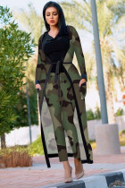 Camouflage Fashion adult Sexy Newspaper Print Two Piece Suits Patchwork Straight Long Sleeve