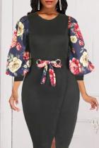 Black Vintage Print Split Joint O Neck Printed Dress Dresses