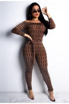 Brown Sexy Fashion bandage Asymmetrical Solid Geometric Long Sleeve one word collar Jumpsuits