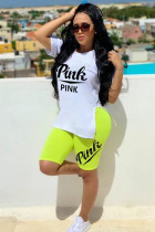 White Fashion adult Casual Patchwork Split Letter Solid Two Piece Suits pencil Short Sleeve
