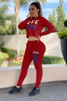 Red Sexy Fashion adult Letter Two Piece Suits Sequin Patchwork Embroidery pencil Long Sleeve