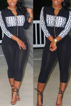 Black High Patchwork Print Skinny Capris Jumpsuits & Rompers