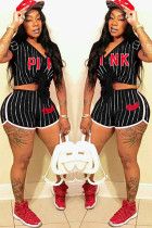 Black adult Fashion Ma'am Active Patchwork Striped Old Print Letter Two Piece Suits pencil Short