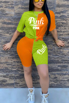 The lime green Ma'am adult Active Fashion Print Two Piece Suits Patchwork Embroidery Straight Short Sleev