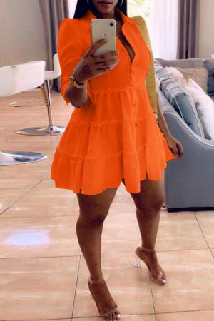 Orange Fashion Casual Solid Turndown Collar Shirt Dress
