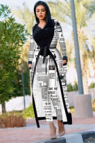 Stripe Fashion adult Sexy Newspaper Print Two Piece Suits Patchwork Straight Long Sleeve