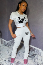 White adult Sexy Fashion Print Two Piece Suits Patchwork Letter pencil Short Sleeve
