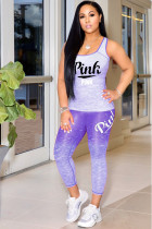 purple adult OL Fashion Two Piece Suits Print Tie Dye Patchwork pencil Short Sleeve Two-piece Pa