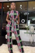 Black Casual Fashion crop top Bandage Plaid Two Piece Suits asymmetrical Slim fit Geometric Stra