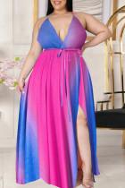 Rose Red Blue Casual Tie Dye Split Joint Frenulum V Neck Sling Dress Plus Size Dresses