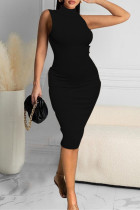 Black Sexy Casual Solid Vests Turtleneck Sleeveless Dress