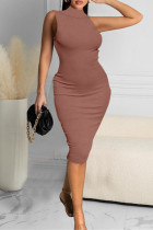 Brown Sexy Casual Solid Vests Turtleneck Sleeveless Dress