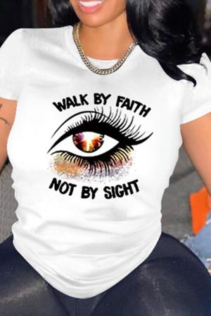 White Fashion Casual Eyes Printed Basic O Neck T-Shirts