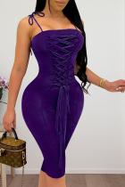 Purple Sexy Solid Split Joint Spaghetti Strap Pencil Skirt Dresses