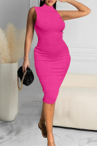 Rose Red Sexy Casual Solid Vests Turtleneck Sleeveless Dress