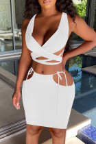 White Sexy Solid Hollowed Out Split Joint Frenulum V Neck Sleeveless Two Pieces
