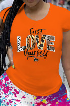 Tangerine Red Casual Print Split Joint O Neck T-Shirts