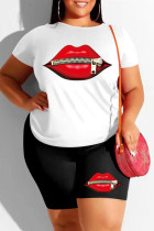 Black And White Fashion Casual Lips Printed Basic O Neck Plus Size Two Pieces