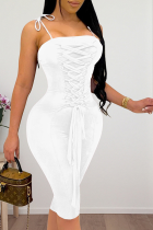 White Sexy Solid Split Joint Spaghetti Strap Pencil Skirt Dresses