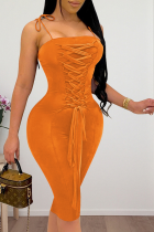 Tangerine Red Sexy Solid Split Joint Spaghetti Strap Pencil Skirt Dresses