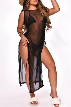 Black Fashion Sexy Solid See-through Swimwears Three-piece Set