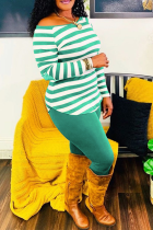 Green Casual Striped Split Joint Off the Shoulder Long Sleeve Two Pieces
