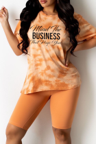 Tangerine Red Casual Patchwork Tie-dye Letter O Neck Short Sleeve Two Pieces