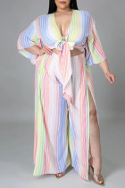 Colour Fashion Casual Striped Print Hollowed Out Slit V Neck Plus Size Two Pieces