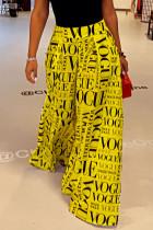 Yellow College Print Split Joint Loose High Waist Wide Leg Full Print Bottoms