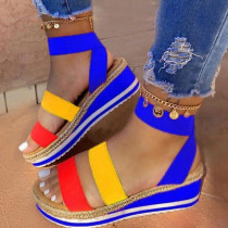 Colour Fashion Casual Hollowed Out Split Joint Fish Mouth Sandals