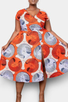 Orange Yellow British Style Print Split Joint High Opening V Neck Princess Plus Size Dresses