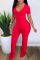 Red Casual Solid Split Joint V Neck Skinny Jumpsuits