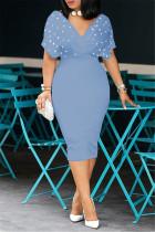 Light Blue Fashion Solid Beading V Neck Short Sleeve Dress