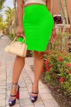 Fluorescent Green Fashion Casual Solid Basic Regular High Waist Skirts