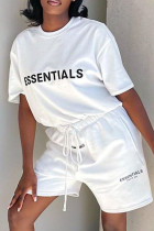 White Fashion Casual Letter Print Basic O Neck Short Sleeve Two Pieces