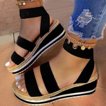 Black Fashion Casual Hollowed Out Split Joint Fish Mouth Sandals