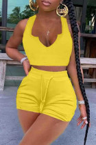 Yellow Fashion Casual Solid Vests V Neck Sleeveless Two Pieces