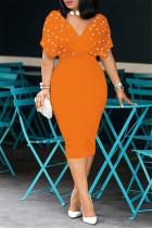 Orange Fashion Solid Beading V Neck Short Sleeve Dress