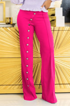 Rose Red Fashion Casual Solid Basic Regular High Waist Trousers