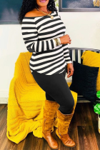 Black Casual Striped Split Joint Off the Shoulder Long Sleeve Two Pieces
