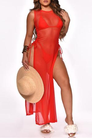 Red Fashion Sexy Solid See-through Swimwears Three-piece Set